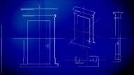 Door Technical Drawing Blueprint Time Lapse HD, SD video