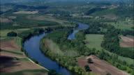 Dordogne River At Siorac-En-Périgord  - Aerial View - Aquitaine, Dordogne, Arrondissement de Sarlat-la-Canéda, France video
