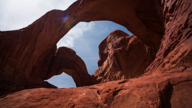 Double Arch at Arches National Park - Tracking Shot video