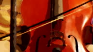 Double Bass Violin played with bow - watercolor style video