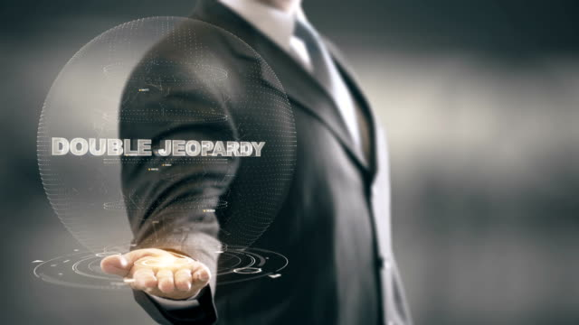 Double Jeopardy with hologram businessman concept video