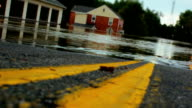 Double Yellow Line Leading Into Flood With Tilt-Shift video