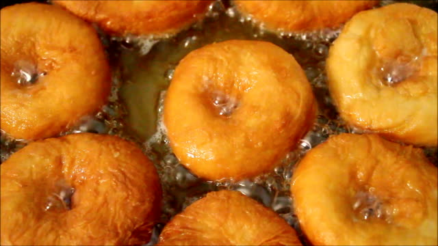 Doughnuts are fried in oil video