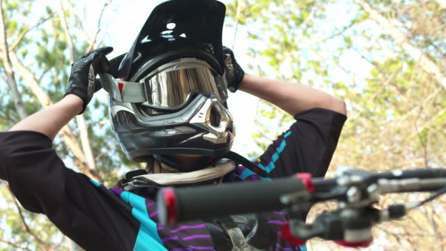 HD: Downhill Biker Get Ready For A Ride video