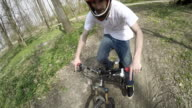 POV Downhill biker riding on a dirt road video