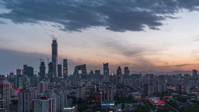 T/L TD Downtown Beijing and Urban Skyline, Day to Night / Beijing, China video