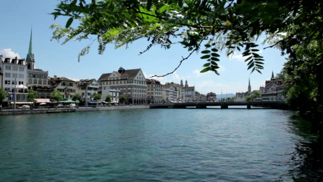 Downtown center and Limmat River, Zurich video