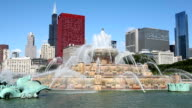 Downtown Chicago with Buckigham Fountain video