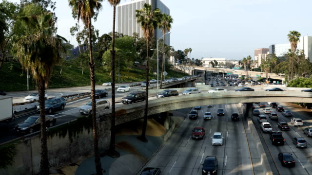 Downtown interchange on the Freeway in Los Angeles video