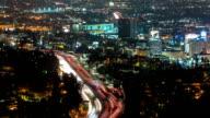 Downtown Los Angeles Night Aerial Timelapse City Highway Zoom video
