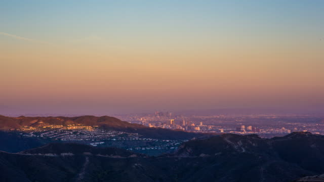 Downtown Los Angeles sunset as seen from Malibu video