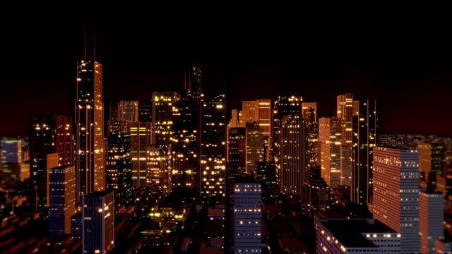 Downtown Metro City Skyline Aerial (Loop) video