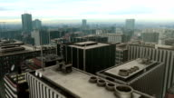 Downtown Metro City Skyline Fly Over Aerial video