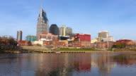 Downtown Nashville skyline along the Cumberland River video