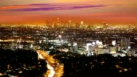 Downtown LA night Los Angeles sunset skyline California from high view video