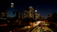 Downtown of Los Angeles at night video