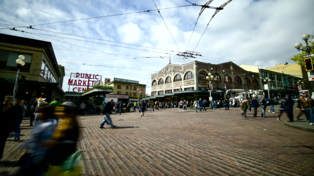 downtown pike place street seattle,  timelapse video
