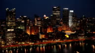 Downtown Pittsburgh Pennsylvania At Night video