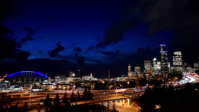 Downtown Seattle City Skyline Interstate 5 Cars Divided Highway video