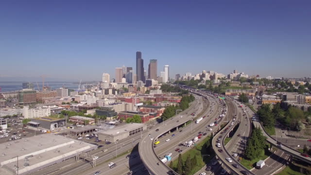 Downtown Seattle Freeway Traffic Aerial with Skyscraper Buildings in Skyline video