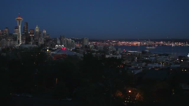 Downtown Seattle Twilight, Space Needle and Elliott Bay video