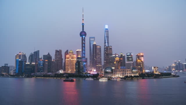 T/L WS HA Downtown Shanghai, Day to Night Transition / Shanghai, China video