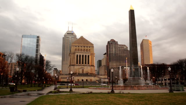 Downtown Square Overcast Day Indianapolis Indiana video