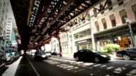 Downtown Street and Elevated Train, Chicago video