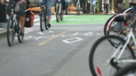 Downtown Vancouver Busy Cycle Path video