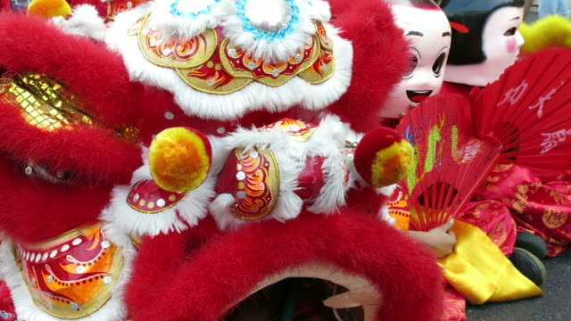 Dragon dancers celebrating Chinese New Year video