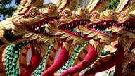 Dragons near entrance to Big Golden Buddha statue in Pattaya, Thailand video