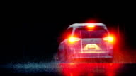 Dramatic Car Drives Through Rain With Brake Lights video