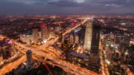 T/L WS HA RL PAN Dramatic Cityscape of Beijing Skyline, Night to Day Transition video