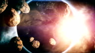 Dramatic Earth with Asteroids video