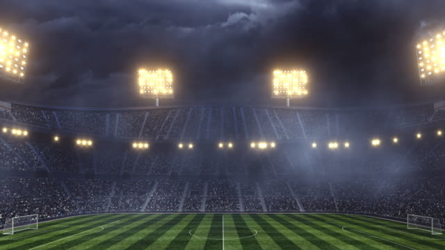 Dramatic soccer stadium with dark sky video
