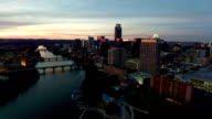 Dramatic Sunset Aerial Drone View Austin Texas Skyline Cityscape video
