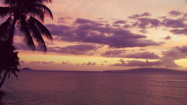 Dramatic Sunset Aerial View Over Hawiian Islands and Pacific Ocean video