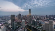 T/L WS HA Dramatic Tianjin Urban Skyline, Day to Night Transition / Tianjin, China video