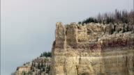 Dramatic Vertical Rock Face in Bighorn National Forest - Aerial View - Wyoming, Big Horn County, United States video