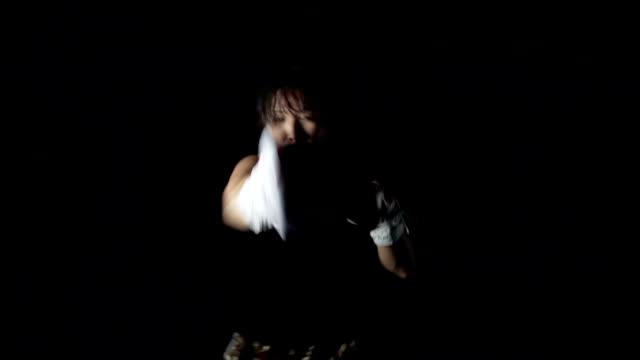 Dramatic Woman Boxing, Punching Camera POV video