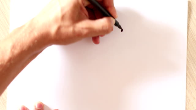 Drawing happy emoticon on white paper video