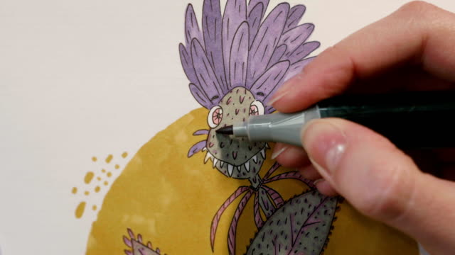 Drawing illustration on watercolor paper using marker video