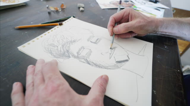 Drawing portrait. video