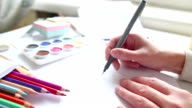drawing process, close-up video