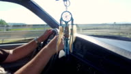 Dream catcher decoration in vintage car video
