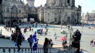 Dresden city square tourist attraction place, multi ethnic tours. Beautiful shot of Europe, culture and landscapes. Traveling sightseeing, tourist views landmarks of Germany. World travel, west European trip cityscape, outdoor shot video