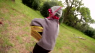 Dressing up Pirate child running away with treasure chest video