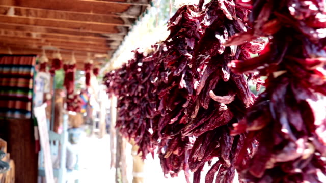 Dried Chile Peppers Hanging in a Market video