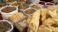 Dried food in asian market in China video