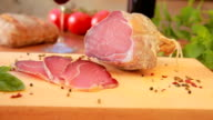 Dried Meat slices on a wooden board video